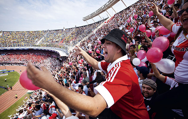 Breathing space...River Plate fans at El Monumental.