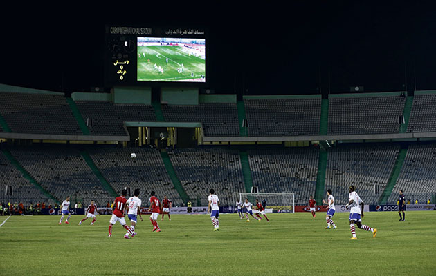 Behind closed doors…the derby is played out at an empty Cairo International Stadium after the nationwide ban on fans