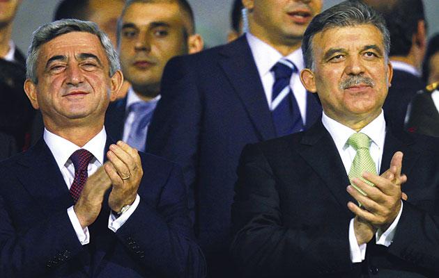 Building bridges…Armenia's Serzh Sargsyan (left) and Turkish president  Abdullah Gul