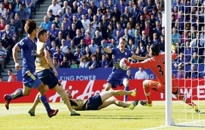 Threat…Leicester City strikers Jamie Vardy (centre) and Shinji Okazaki