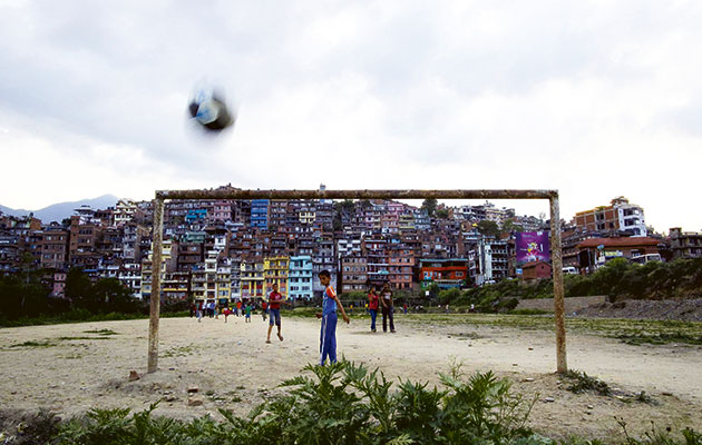 Child's play...a pitch  in the capital Kathmandu