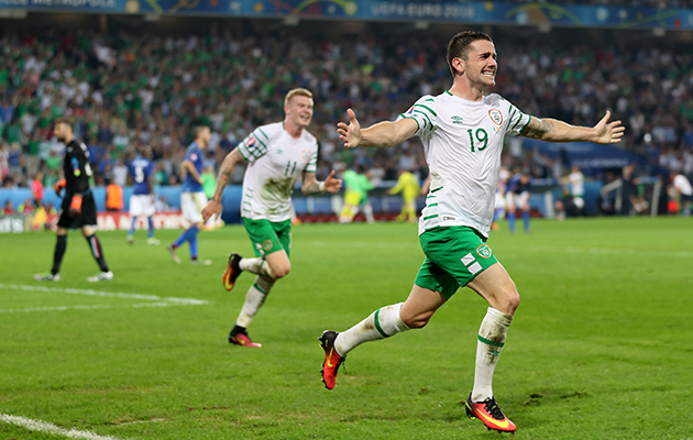 Robbie Brady scores the winner against Italy