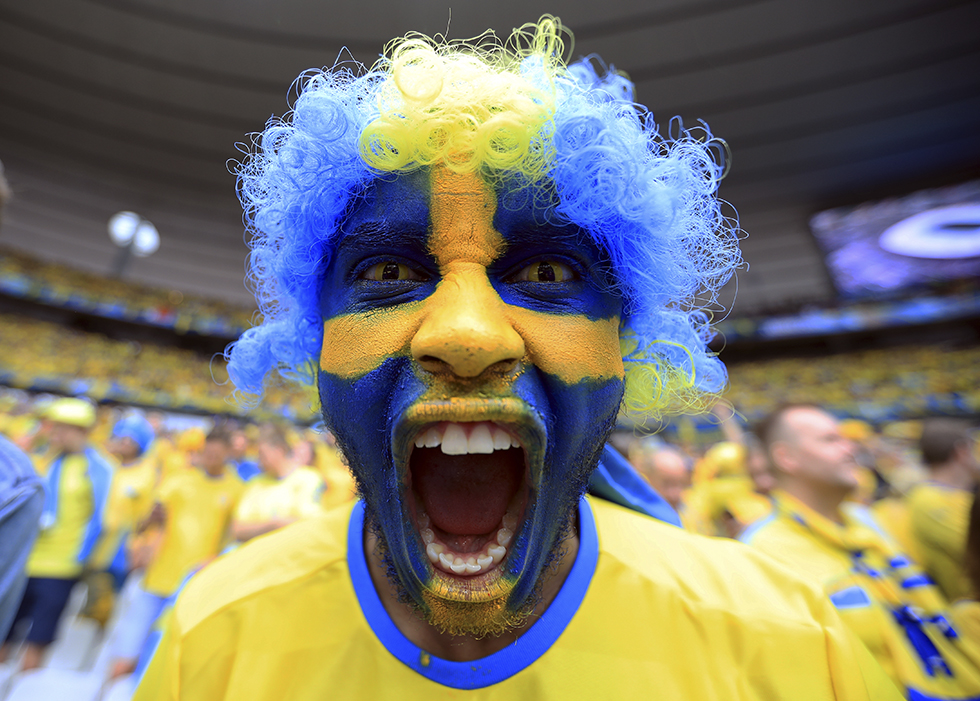 An excited Sweden fan in the stands during the Group E match at the Stade de France, against Republic of Ireland.