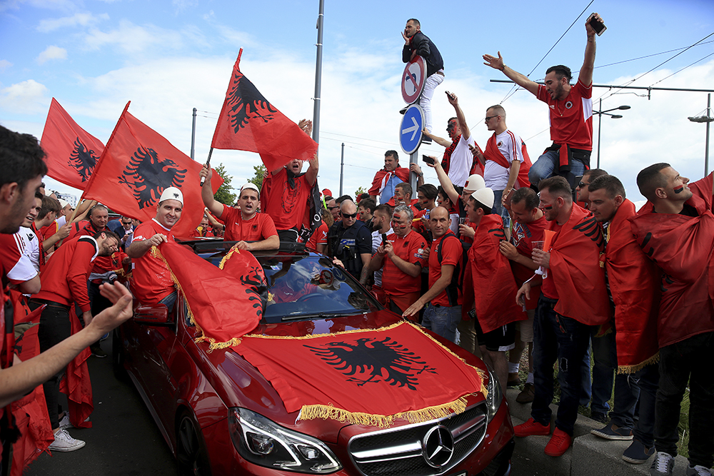 Albania fans show support for their team prior to the match against Romania.