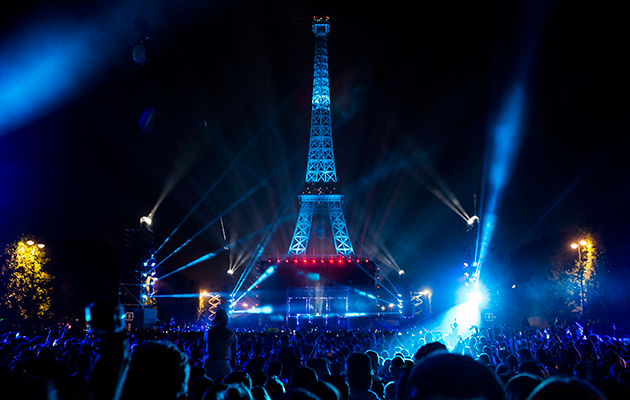 A concert by French DJ David Guetta in the fan zone near the Eiffel Tower, as part of the upcoming Euro 2016 finals entertainment.