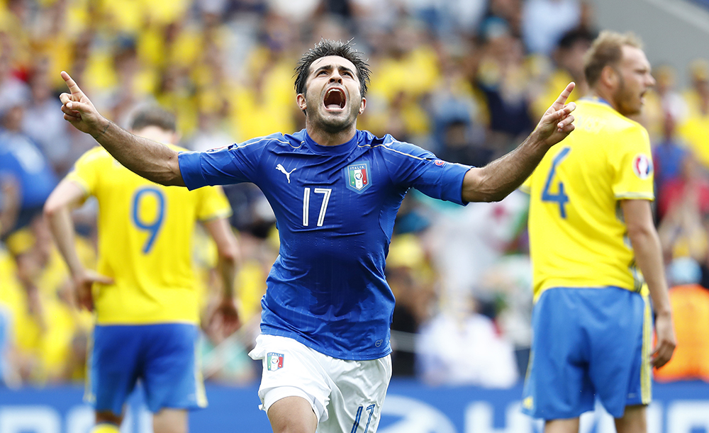 Italy's Eder celebrates after scoring their winning goal against Sweden.