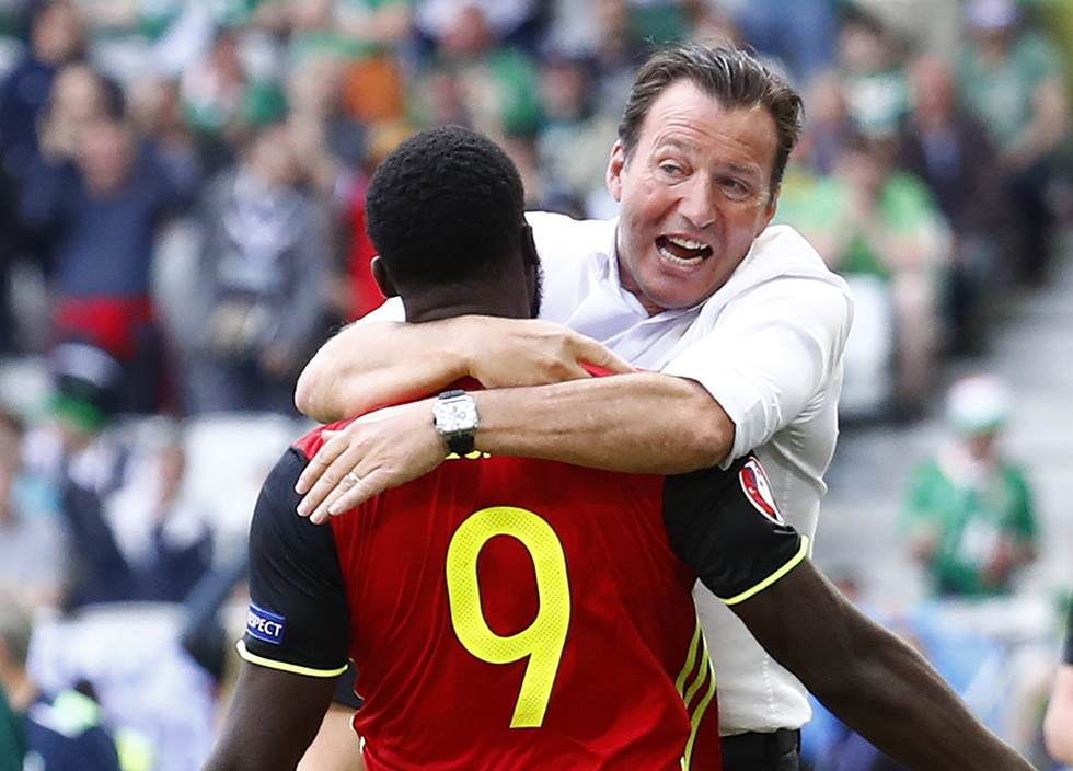 Belgium's Romelu Lukaku celebrates with head coach Marc Wilmots after scoring their first goal against Republic of Ireland.