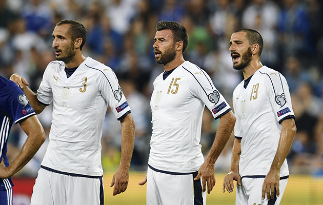 Italy's three...(from left) Giorgio Chiellini, Andrea Barzagli and Leonardo Bonucci.