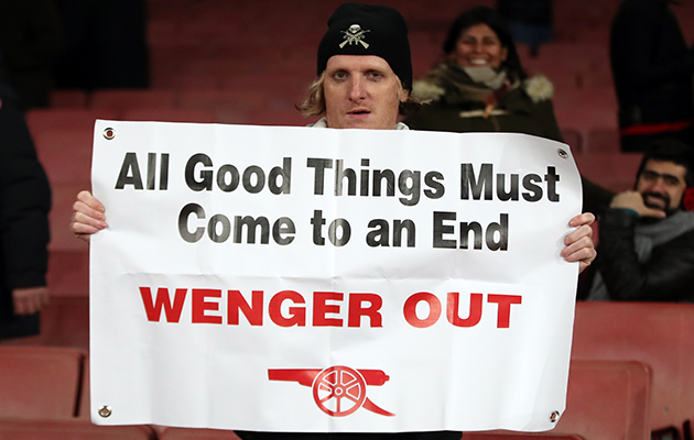 Arsenal fan Wenger out banner