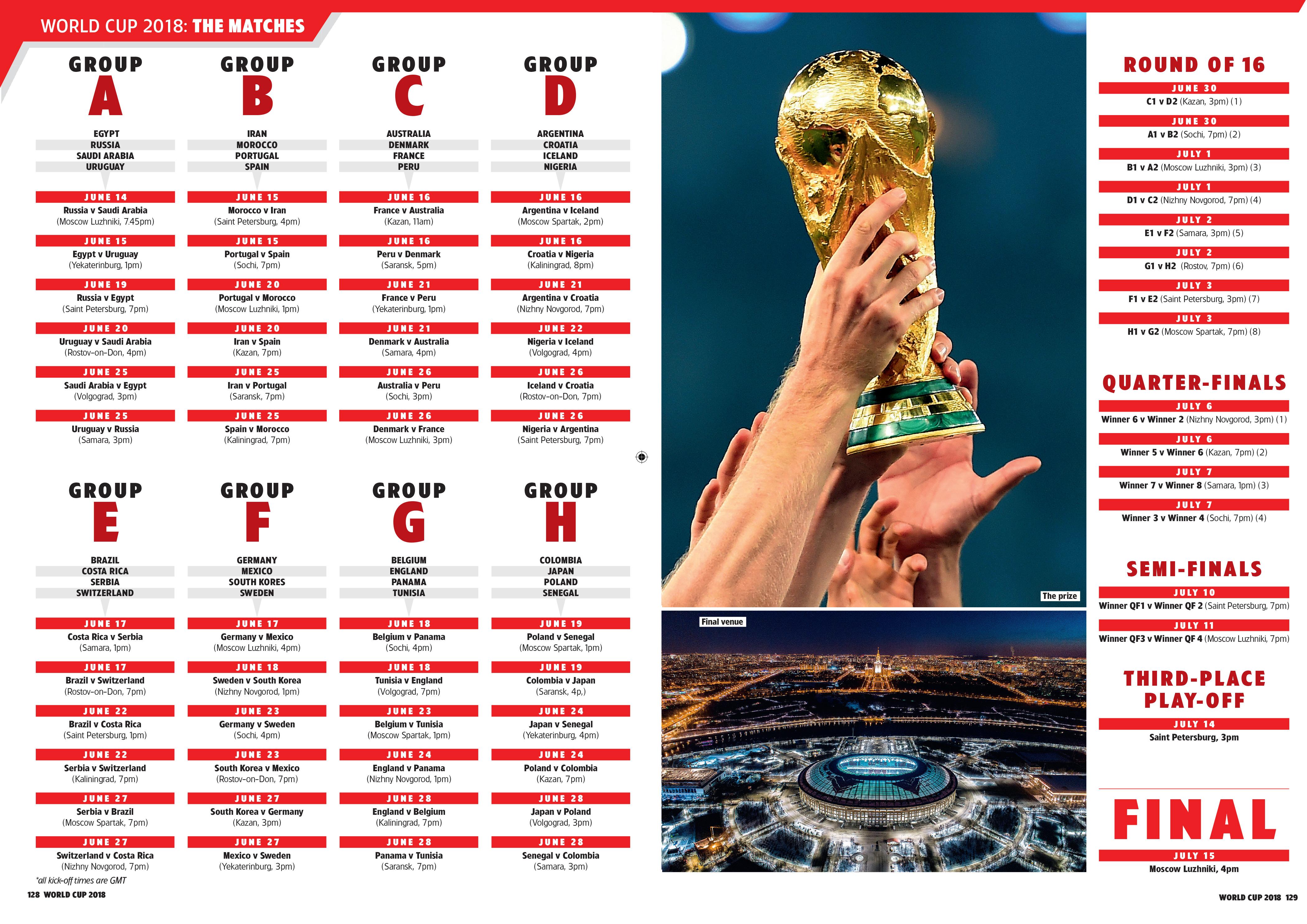 World Cup 2018: Schedule