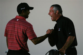 Tiger Woods and Steve Williams. Woods won the Arnold Palmer Invitational last week at Bay Hill