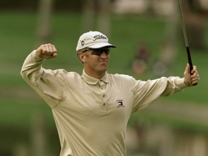 A relatively rare display of emotion for David Duval as he shoots 59 with a closing eagle in 1999