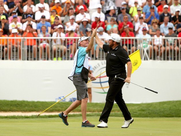 Shane Lowry celebrates winning the WGC - Bridgestone Invitational