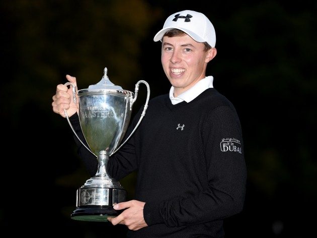 MattFitzpatrick with the winners trophy after the final round of the British Masters at Woburn Golf Club on October 11, 2015. Credit: Getty Images