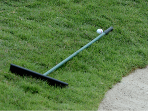 Ball against rake