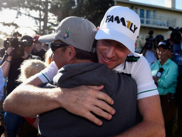 Jubilation: Vaughn Taylor reacts after winning Pebble Beach
