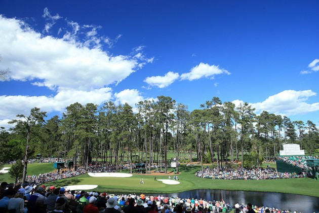 The 16th hole at Augusta National during the second round of the 2016 US Masters