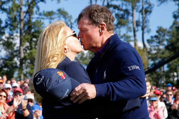 Tom Watson is greeted by his Hilary after completing his final round at the US Masters Tournament at Augusta National Golf Club on April 8, 2016 in Augusta, Georgia. (Photo by Kevin C. Cox/Getty Images)
