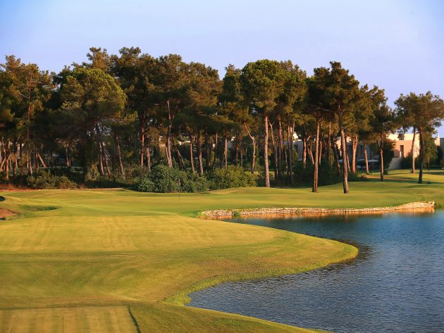 The par-3 7th at Gloria Old Course in Belek