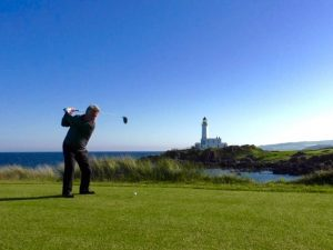Jezz Ellwood on the new back 9th tee on the Ailsa course, June 2016