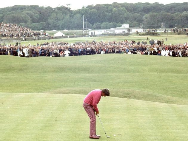 Doug Sanders lines up his second putt on the 18th green. Credit: Getty Images famous for his putting ability, attempting a short putt across the 'Valley of Sin' at the 18th hole at St Andrews during the 1970 British Open Championship. He missed the shot and it cost him the championship. Doug Sanders is the only man to win the Canadian Open as an amateur. The Royal and Ancient golf club at St Andrews was founded in 1754 and recognised as the Governing Authority on the rules of the game in 1897. There are now more than 100 countries and associations affiliated to the famous club. (Photo by A. Jones/Express/Getty Images) open golf choke