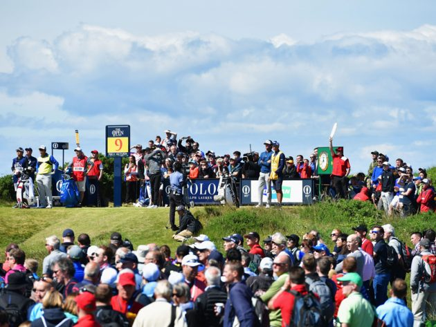 Open crowds following Rory