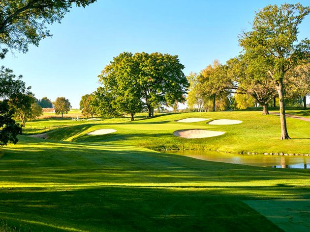 The par-3 8th hole on the Ryder Cup course at Hazeltine