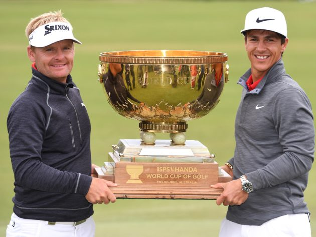 Soren Kjeldsen and Thorbjorn Olesen with the trophy