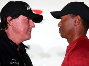 Sky Sports To Show Tiger Woods Vs Phil Mickelson Match Tiger Woods Vs Phil Mickelson The Match Press Conference