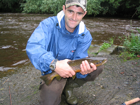 Brown trout fishing on the river Calder.