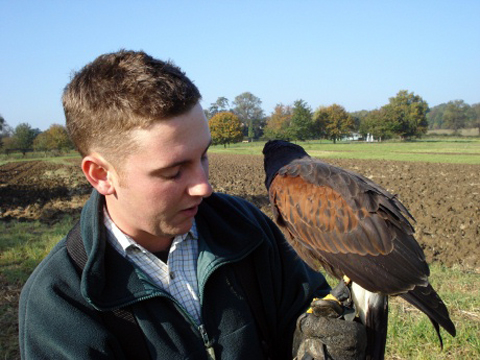Adam and Tetley the hawk.