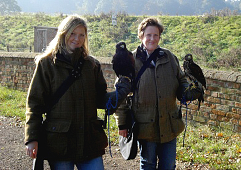 Lucy and Emma with the birds.