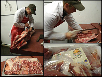 Preparing an organic lamb.