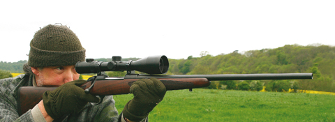 Sako Hunter rifle in use.