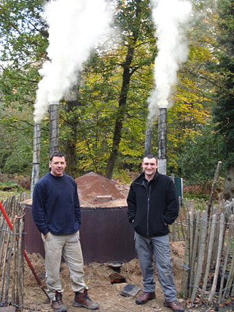 Tim and Keith standing by the kiln.
