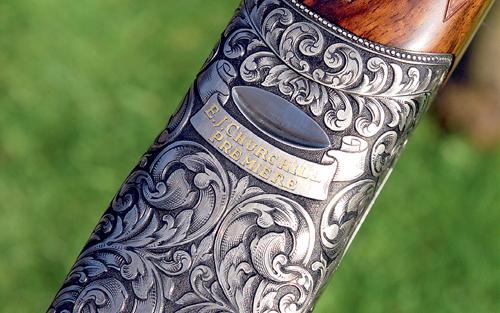 Churchill 28-bore shotgun Premiere engraving