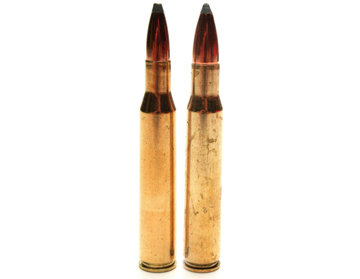 The necked-down .270 Winchester cartridge left with its parent case the .30-06 Springfield.