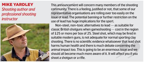Lead shot ban possible.