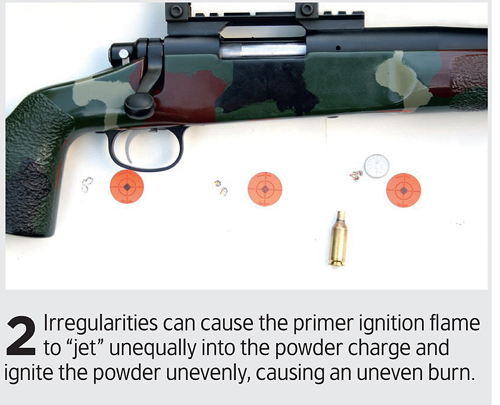Check primer hole uniformity in bullets