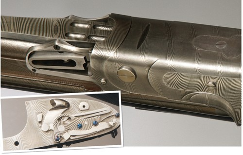 Purdey Damascus Steel shotgun action.