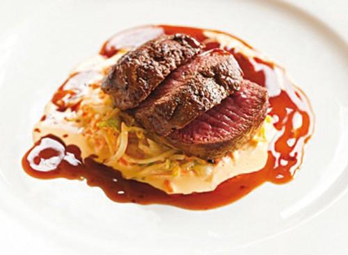 Roast loin of venison dish