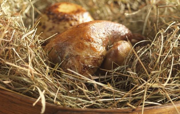 Hay baked pheasant
