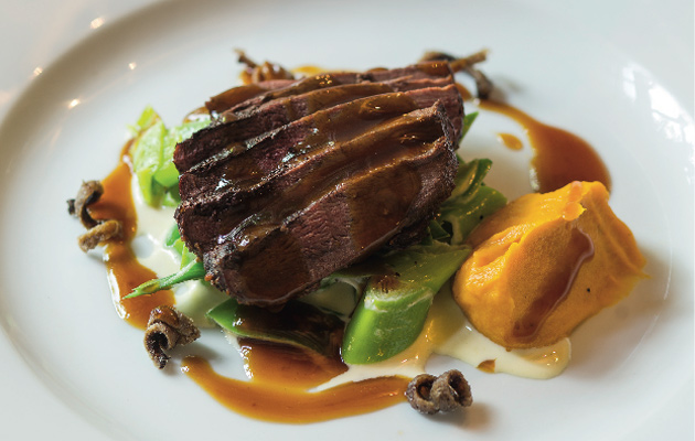 roast duck breast with butternut squash and leek