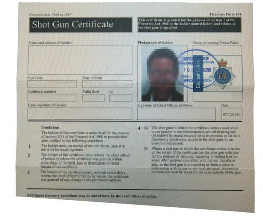 firearms certificate moving house