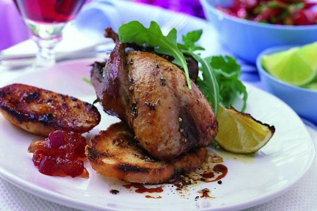 Lime flavoured roast partridge