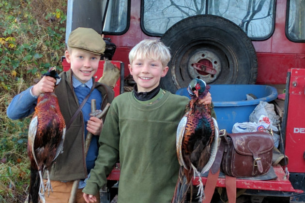 young kids with pheasants
