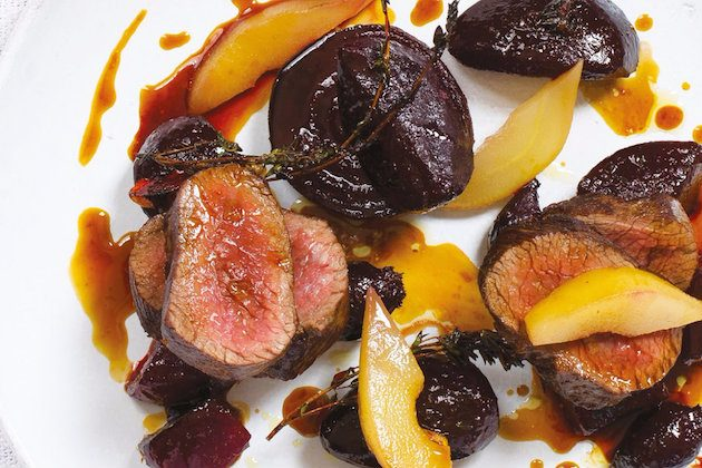 A delicious recipe for Roast Venison and Beetroot with Poached Pears
