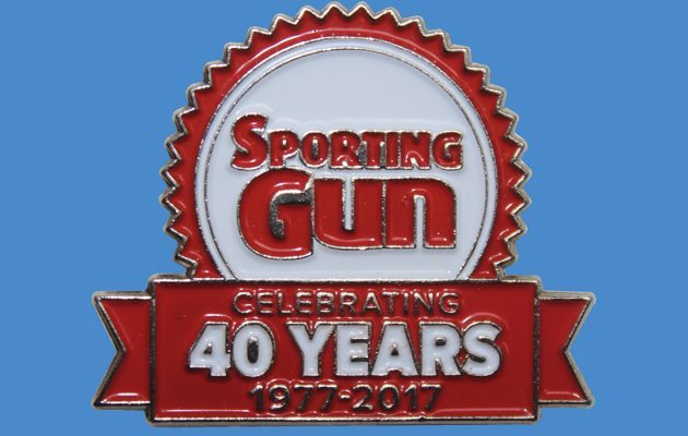 Sporting Gun 40th Anniversary Pin Badge