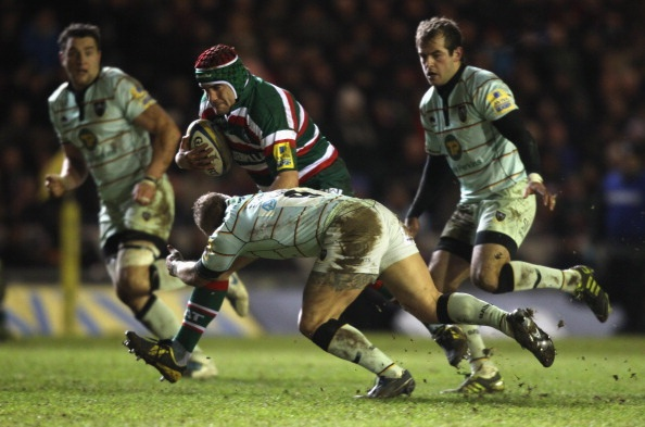 Leicester try-scorer Marcos Ayerza on the attack against Northampton