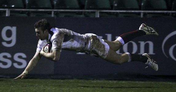 England U20 centre Andy Short dives over the line in a similar way Chris Ashton did over the weekend
